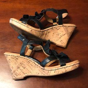 boc Shoes - boc Cork Wedge Sandals Black Size 8